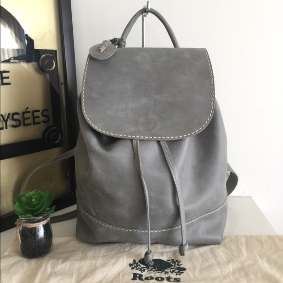 Roots Handbags - Roots Canada Gray Leather Backpack